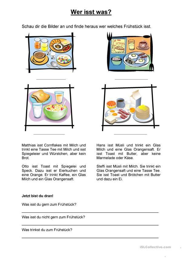 Frühstück   Essen und Trinken, Lebensmittel - DAF Arbeitsblätter ...