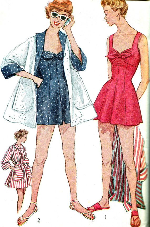 1950s Womens Swimsuit Simplicity 4307 One Piece Bathing Suit Fitted Bra Beach Coat Vintage Sewing Pattern Bust 34 Vintage Swimsuit Pattern Suit Sewing Patterns Vintage Outfits