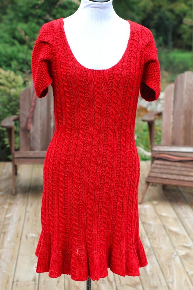 VICTORIA'S SECRET** Red Sweater Dress Sz L Wool-Blend MODA INTL ...