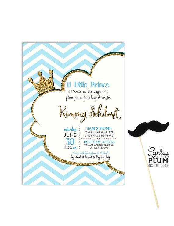 prince baby shower invitation crown royal cloud invite chevron blue gold twin couple invite glitter black gold invite digital file