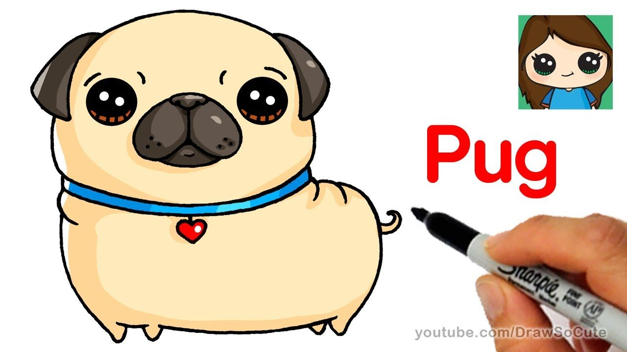 How To Draw A Pug Easy Cartoon Dog Drawing Cute Drawings Dog