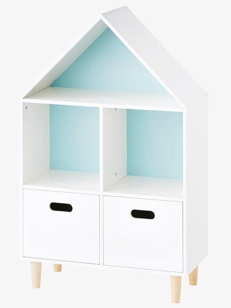 Kinder-Regal in Hausform - WEIß/ROSA/BLAU - 1 | Regal kinder ...