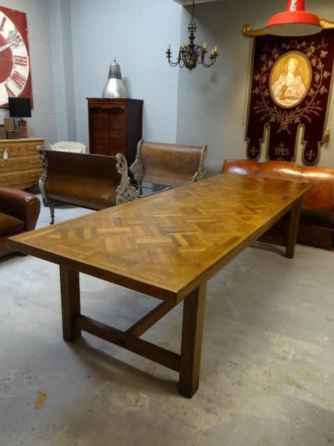 A Stunning Oak Parquet Dining Table That Can Sit 10 People Good Width For Entertaining The Top Is About 50 Years Old And New Stretcher Base Has