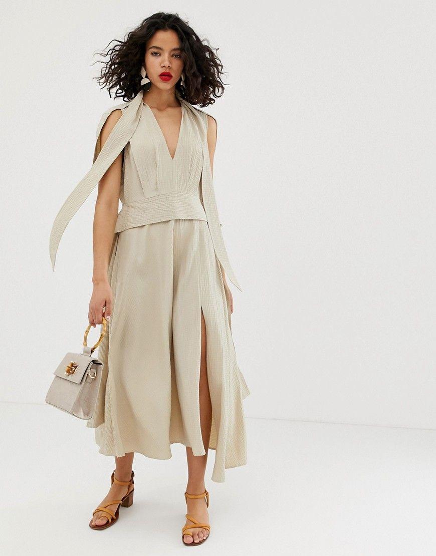 Asos design plunge neck modern maxi dress with cape
