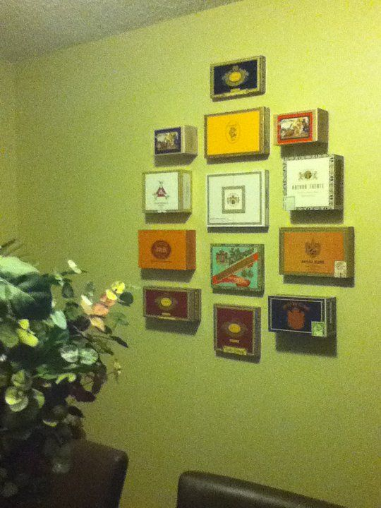 The mans room!! My homemade wall decor - used cigar boxes I got for ...