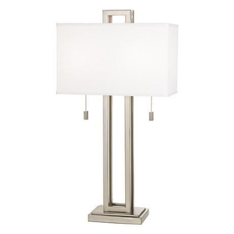 Possini Euro Design Brushed Nickel Rectangle Table Lamp 77738 Lamps Plus Lamp Antique Lamp Shades Modern Table Lamp