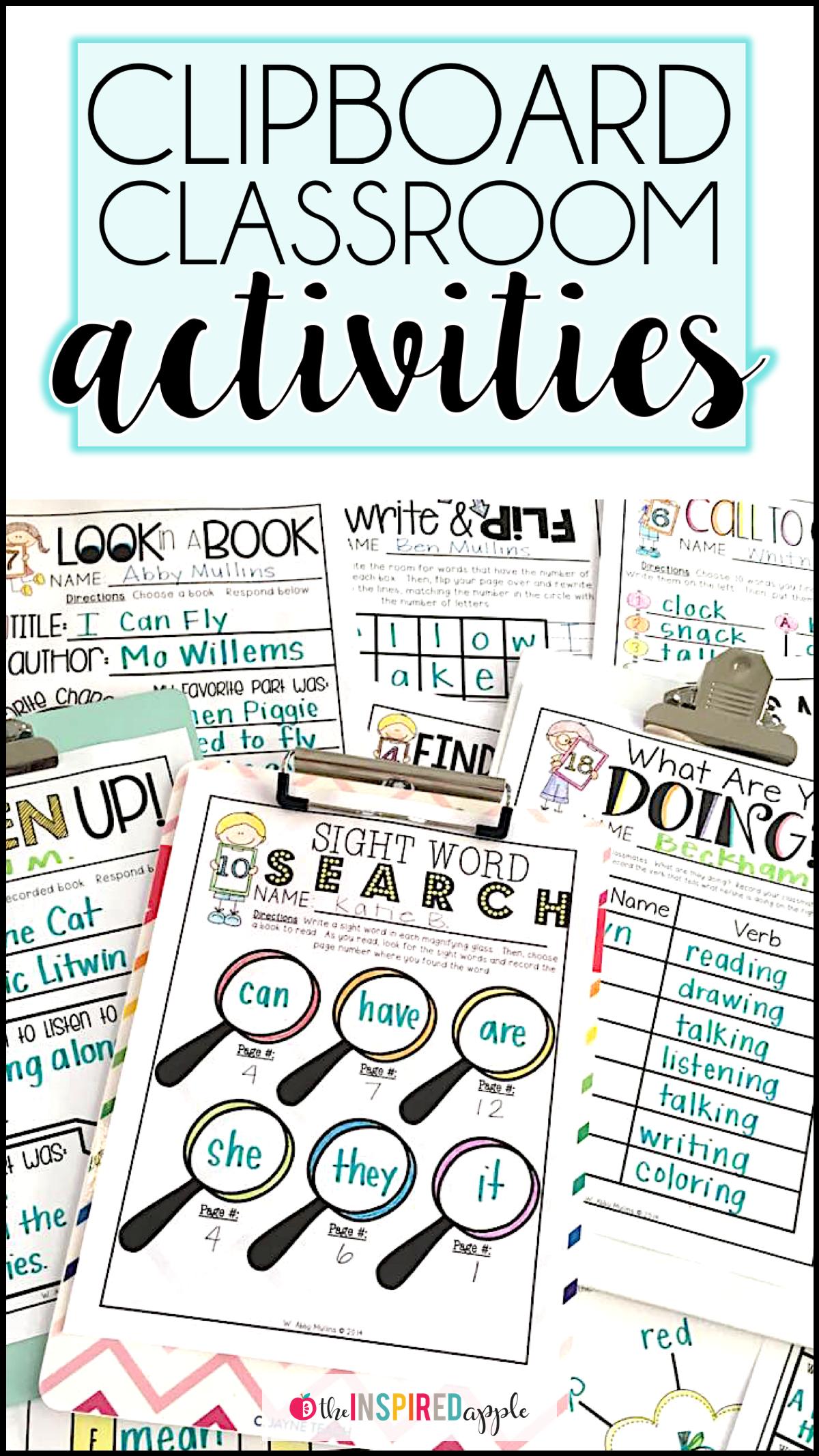 20 Clipboard Activities For Kindergarten And First Grade