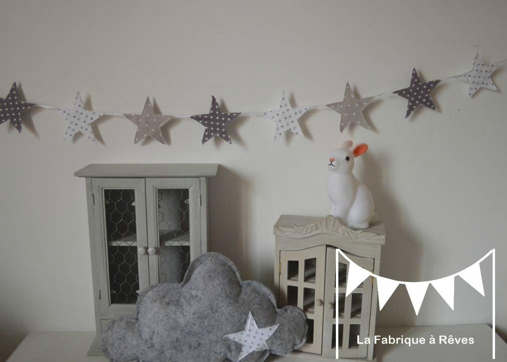 guirlande étoiles grises tissu coton décoration chambre enfant bébé