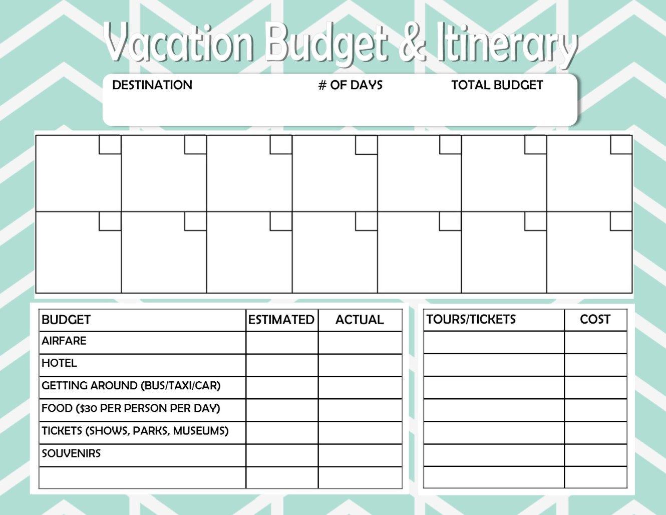 Free Printable Budget And Itinerary