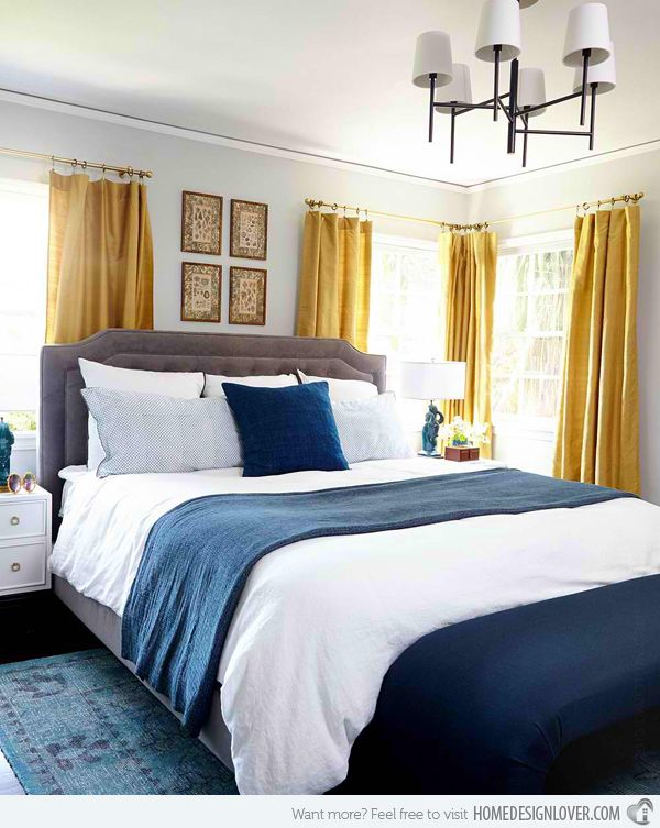 Gold And Blue Bedroom With Gay Walls Framing Gray Headboard Paired With  White Shams With Black Trim, West Elm Linen Cotton Blend Shams, Garnet Hill  Eileen ... Part 33