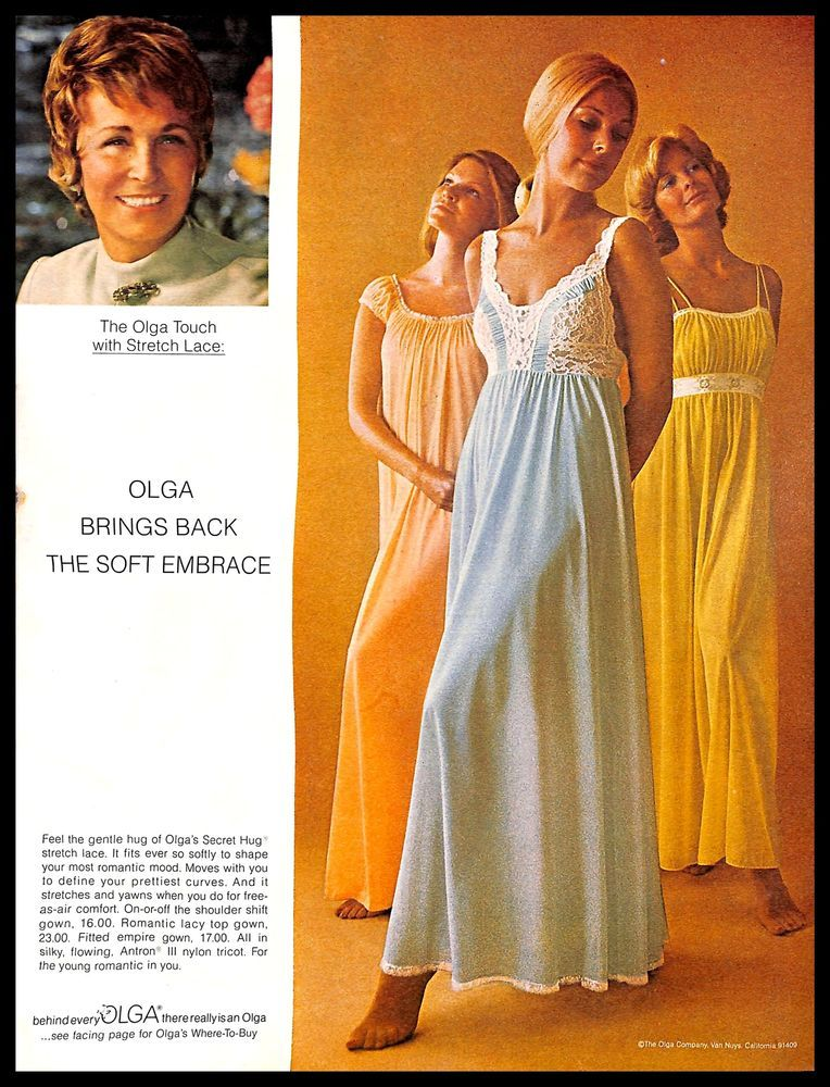 Behind Every Olga There Really Is An Olga Blue 1960s Olga Nightgown