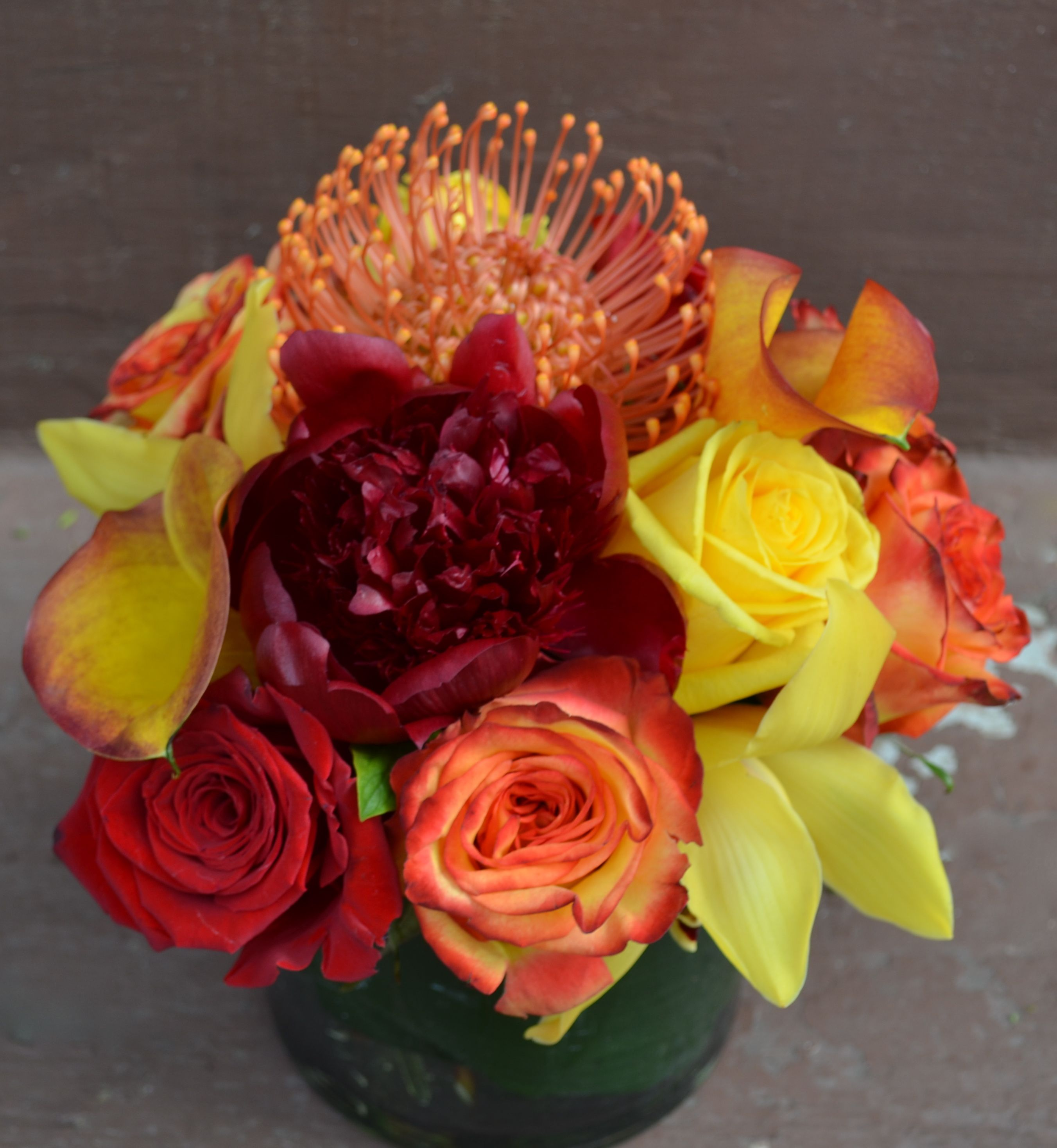 Red Orange Yellow Flower Centerpiece Peony Cymbidium Orchid