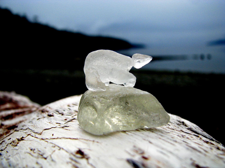 Beach Glass Polar Bear by SalishSeaCreations on Etsy. $45.00 CAD, via Etsy.