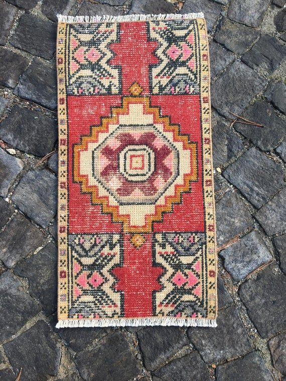 Small turkish rug front door mat vintage rug kilim rug ...