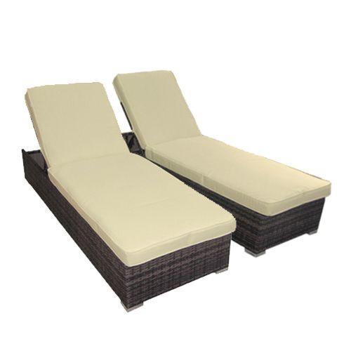 Buy Boracay PE Wicker Outdoor Sunbed Lounge Set of 2 - Coffee Bean