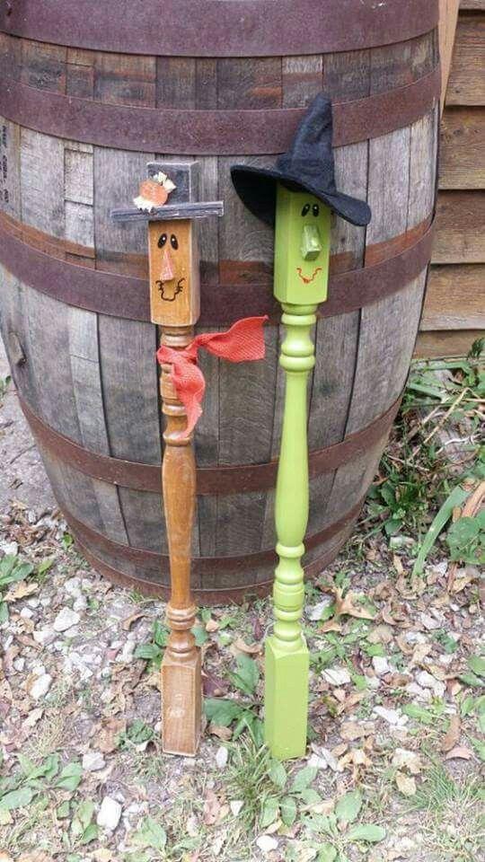 Repurposed wood spindles   Scarecrow crafts, Halloween ...