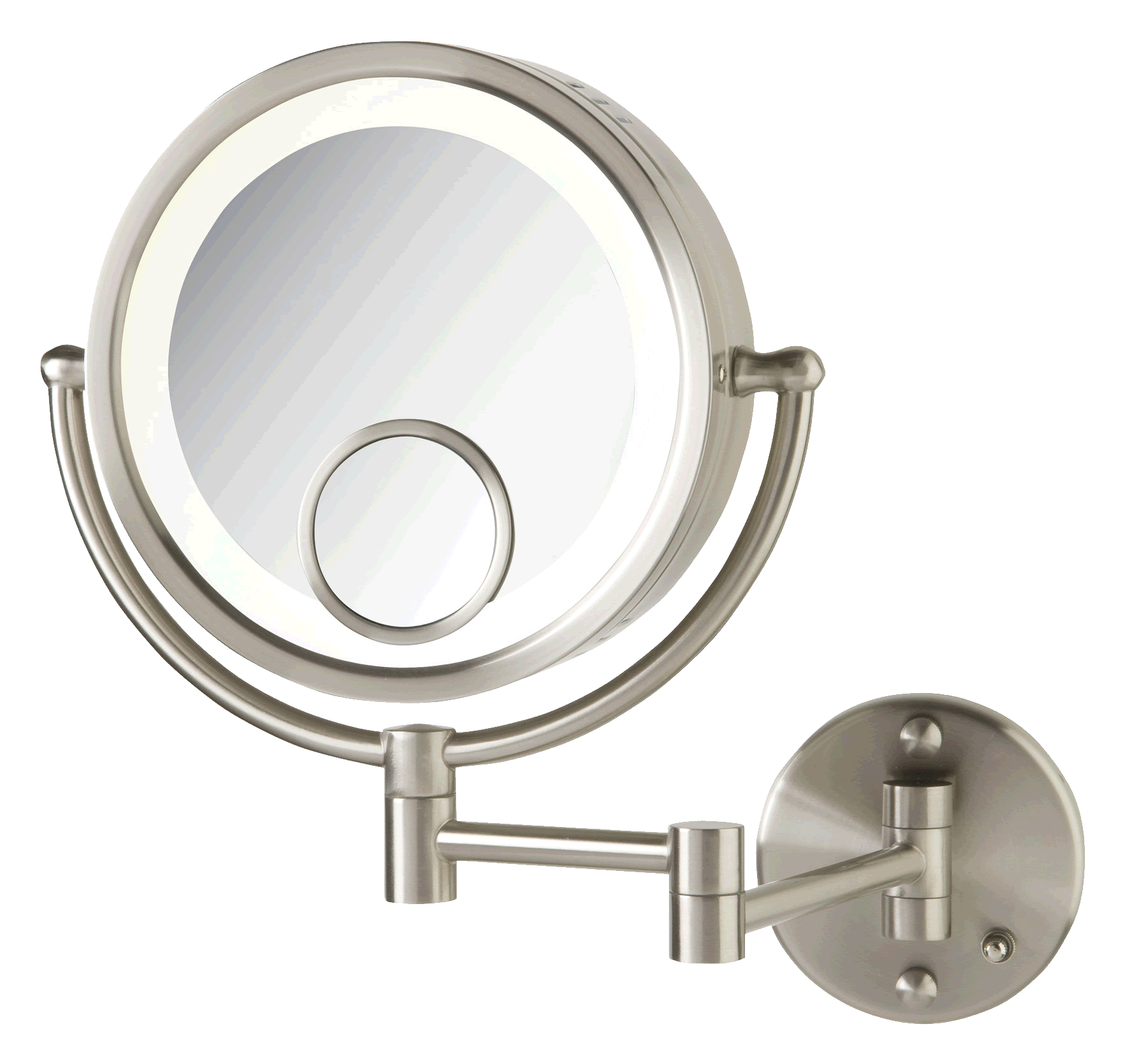 Lighted 7x 1x Plug In Makeup Mirror With 15x Spot Mirror By Jerdon Lighted Wall Mirror Magnification Mirror
