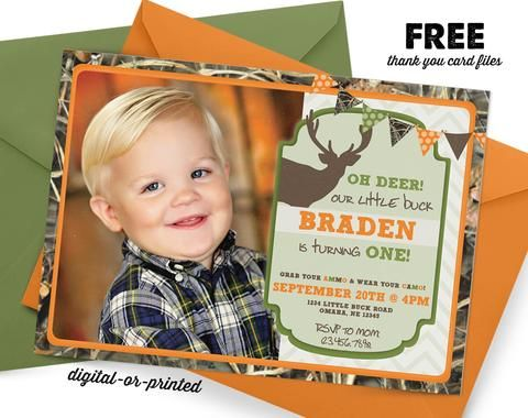 Camo Deer Hunting Birthday Invitation Hunting party invitation