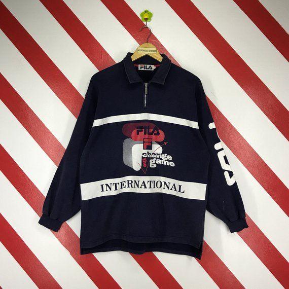 da29ed466d6 Vintage 90s Fila Sweatshirt International Fila Sweater Polo Rugby Shirt  Fila Jumper Big Logo Printed
