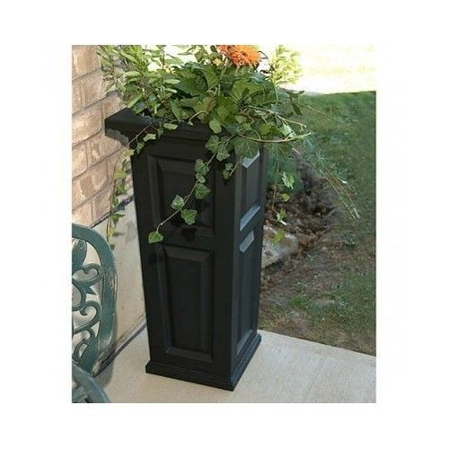 Garden Planter Tall Black 32 Inch Plastic Box Pot Urn Patio Porch Flower  Potted