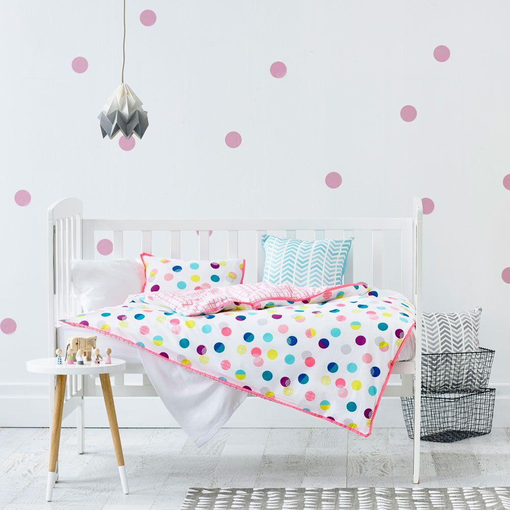 Adairs Kids Girls Pippa Polka Dot Cot Quilt Cover - Nursery Bed Linen -  Adairs Kids