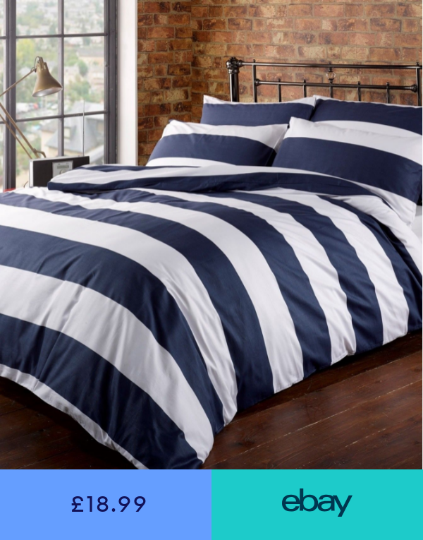 Fitted Sheets Home Furniture Diy Ebay Striped Duvet Covers Blue And White Bedding Striped Duvet