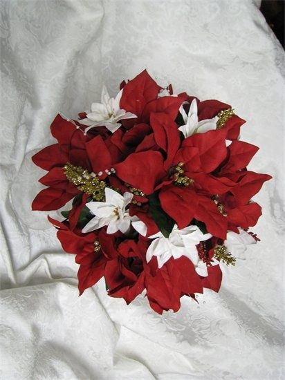 Winter Wedding Poinsettia Bouquet Christmas Wedding Bouquets