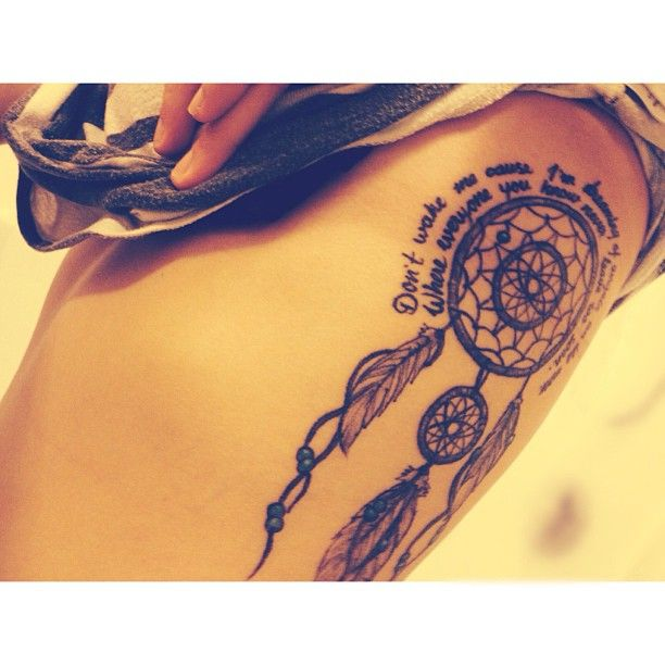 Dreamcatcher Tattoo With Quote Tattoos Tattoos Dream Catcher