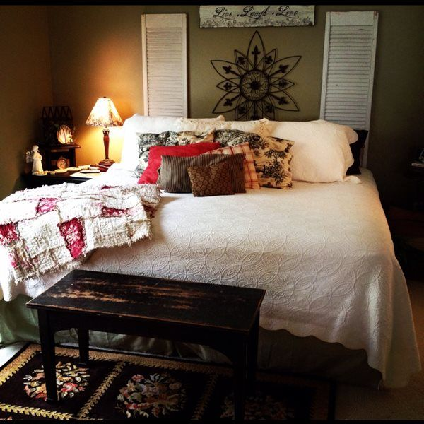 Louvered doors headboard idea   bedroom interior love ...