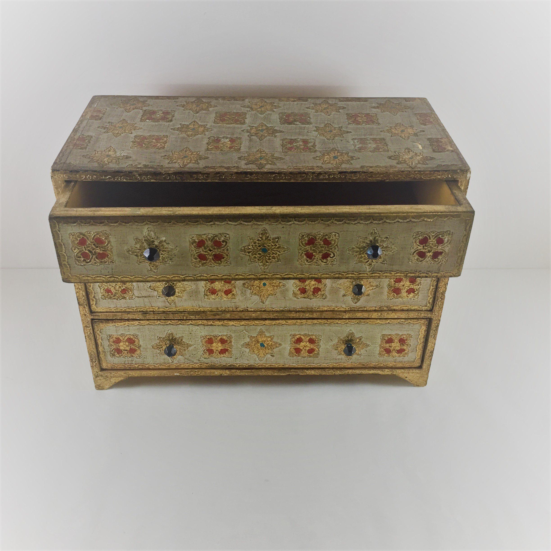 Florentine Jewelry Box Large Vintage Gold Italian Florentine