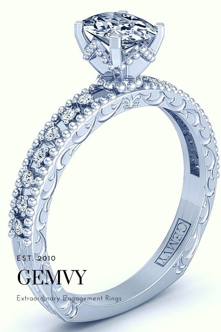 Oval pave diamond engagement ring wedding in
