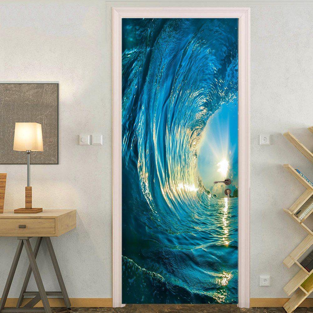 3D Door Stickers Removable Wall Poster DIY Art Decals Sunset