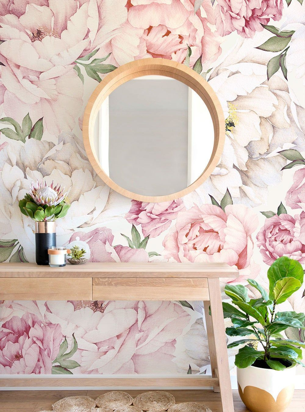 Peony Flower Mural Wallpaper, Rosa Mixto, Acuarela Peonía