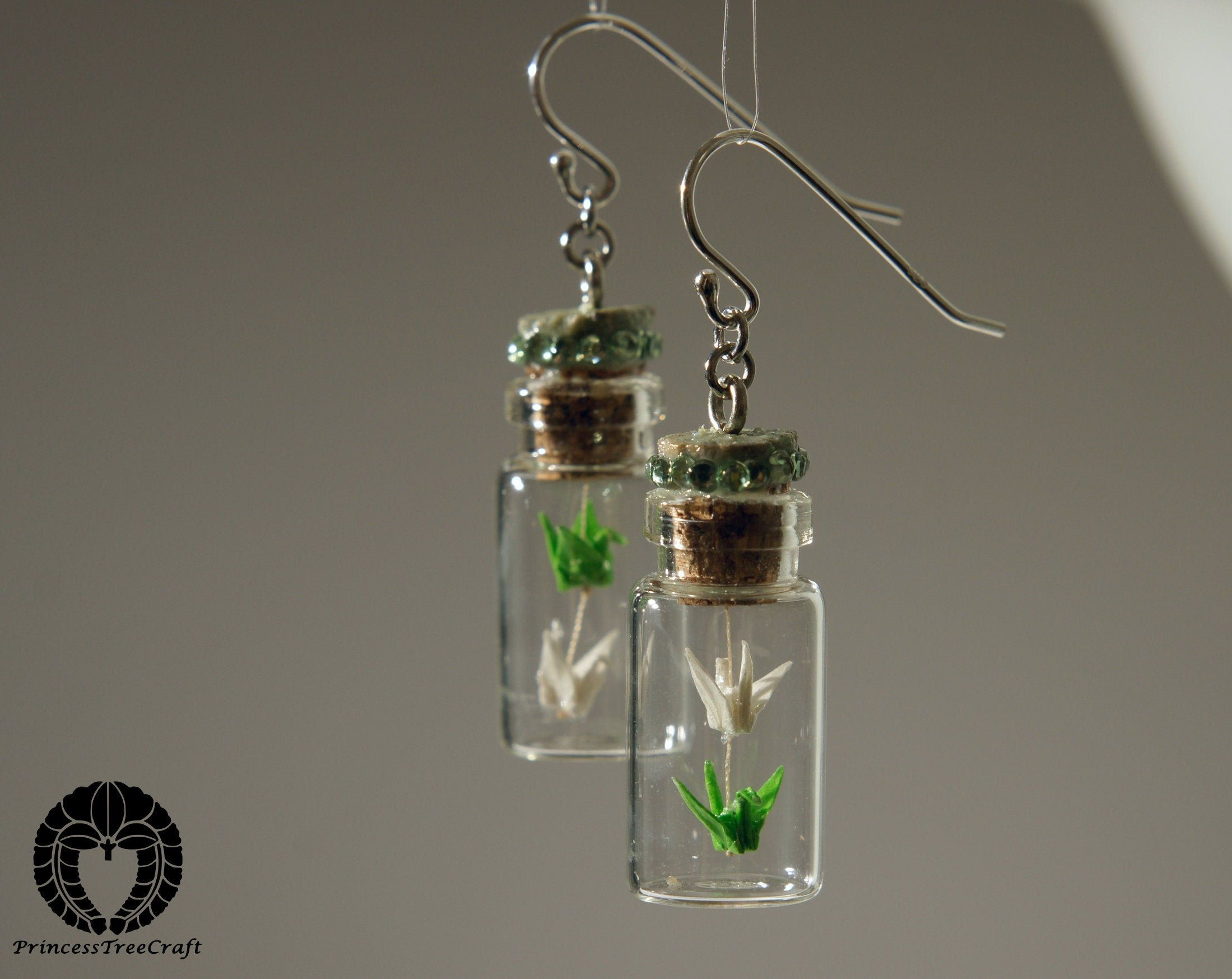 Photo of Micro two floor origami crane mobile in bottle earrings – green and white cranes