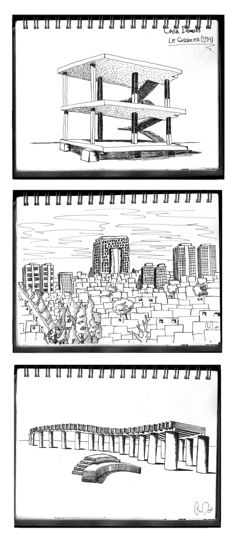 croquis / sketches: arr. casa domino-Le Corbusier (1914), med. vista hacia santa Fe, ab. plaza Tamayo. Tinta Gmo.L. 02