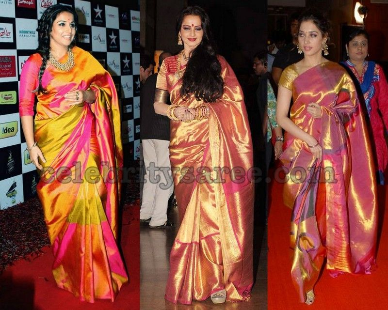 Bollywood Celebrities Heavy Border Sarees Jpg 800 640 Indian Fashion Silk Sarees
