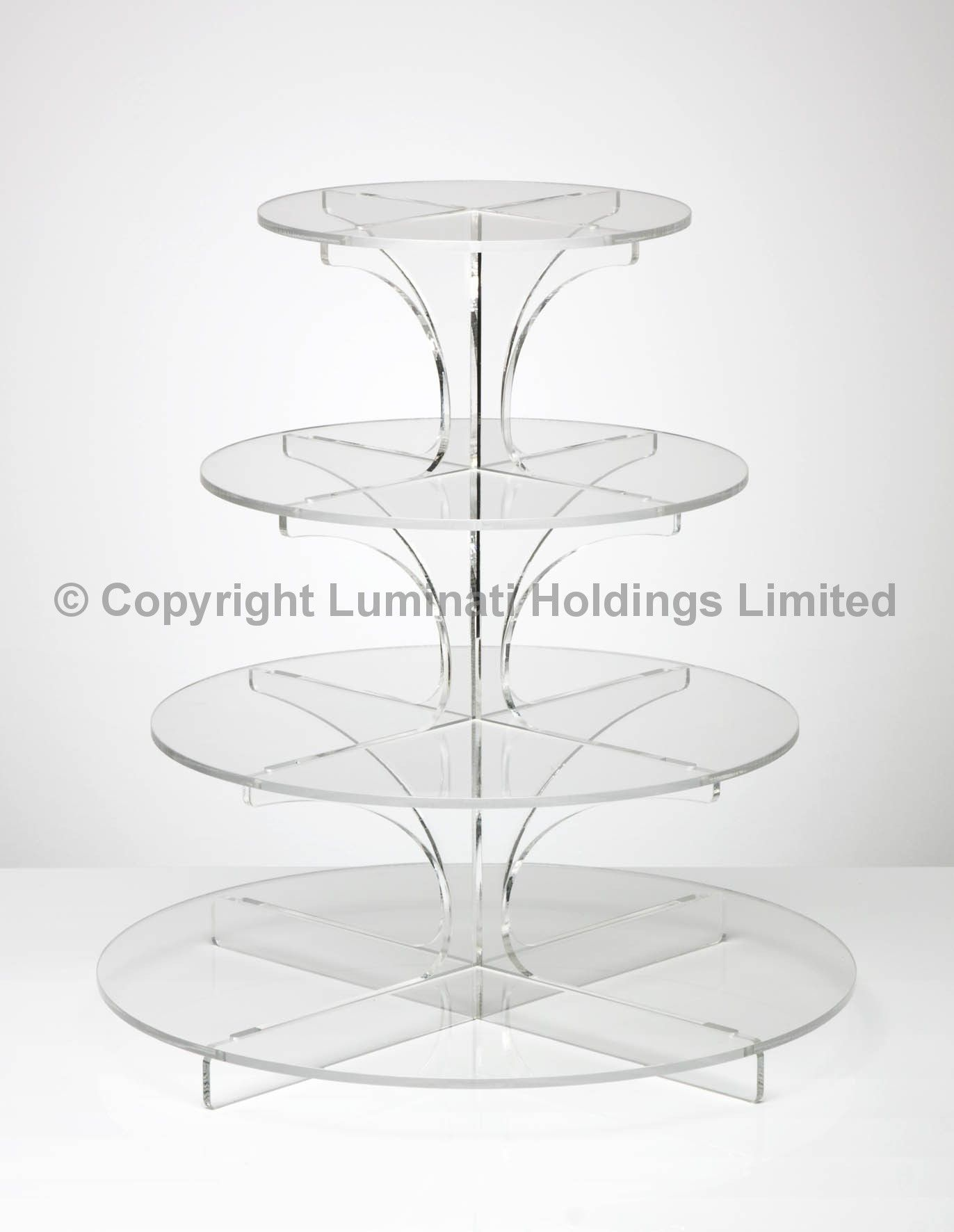 Flat-Packable 4 Tier Clear Round Cupcake Stand | Wedding cupcake ...
