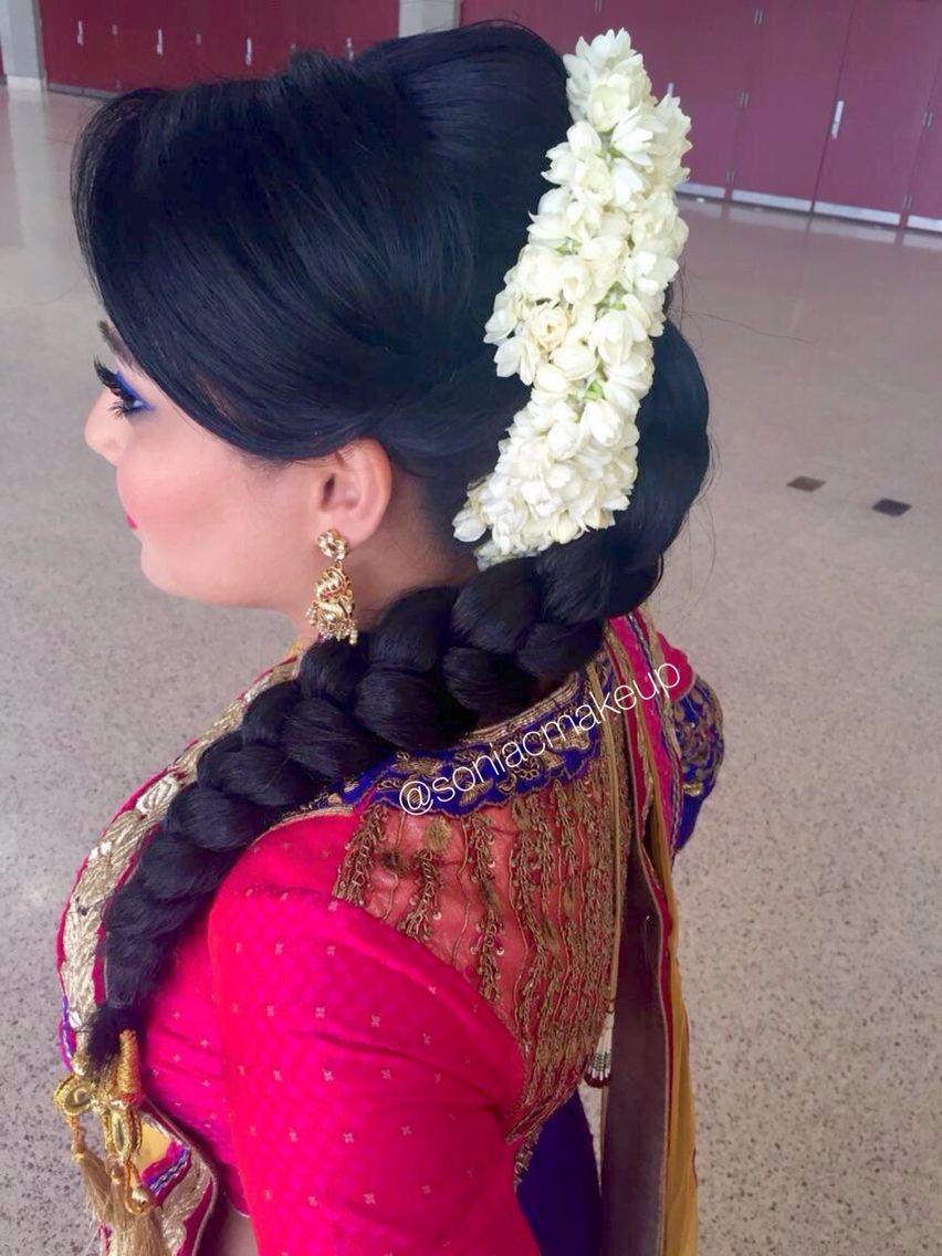 garba sangeet bridal hair, braid, floral braid, jasmine