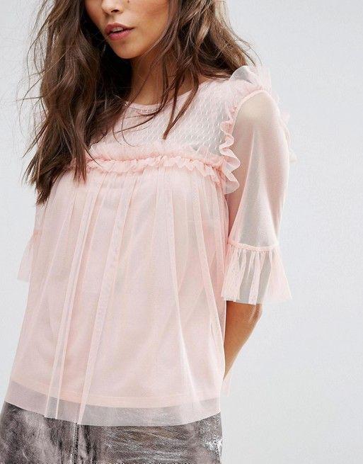 Camiseta de malla con pliegues de Miss Selfridge at asos.com