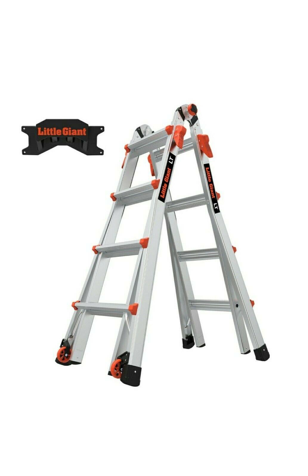 Little Giant Lt M17 Ladder With Storage Rack Multi Position Ladder Aluminum 17ft In 2020 Ladder Storage Ladder Decor Black Bar Stools