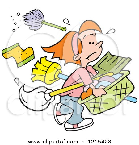 1215428 Cartoon Girl Carrying Cleaning Supplies And Laundry For