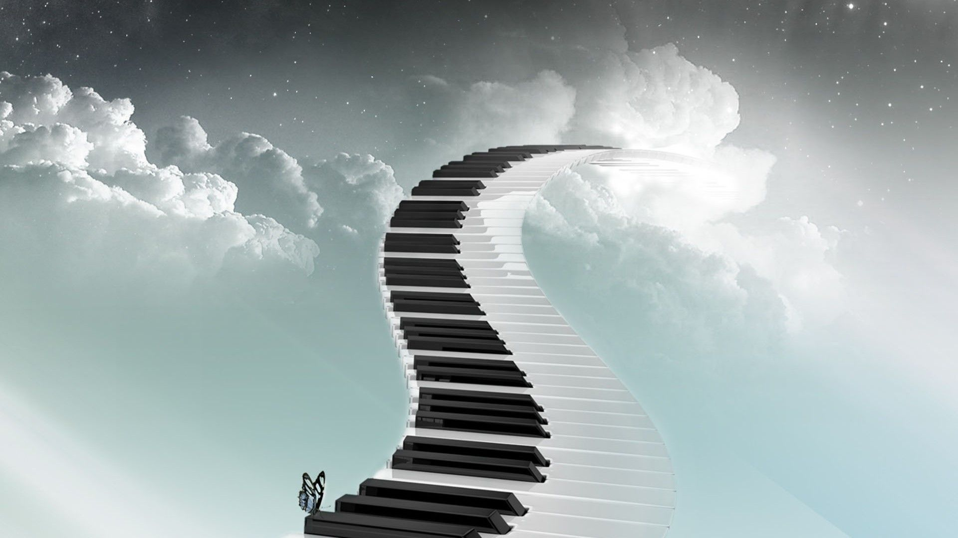 Piano Music Wallpaper: Sky-road-piano-butterfly-staircase-music-1080x1920