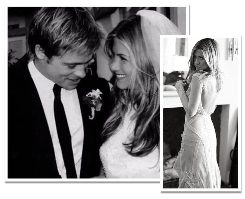Jennifer Aniston And Brad Pitt Jennifer Aniston And Brad Pitt Married In A Gl Jennifer Aniston Wedding Jennifer Aniston Wedding Dress Celebrity Wedding Dresses