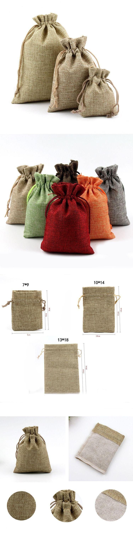 Jute Bags Hessian Hemp Drawstring Bags Wedding Favor Gift Pouch ...