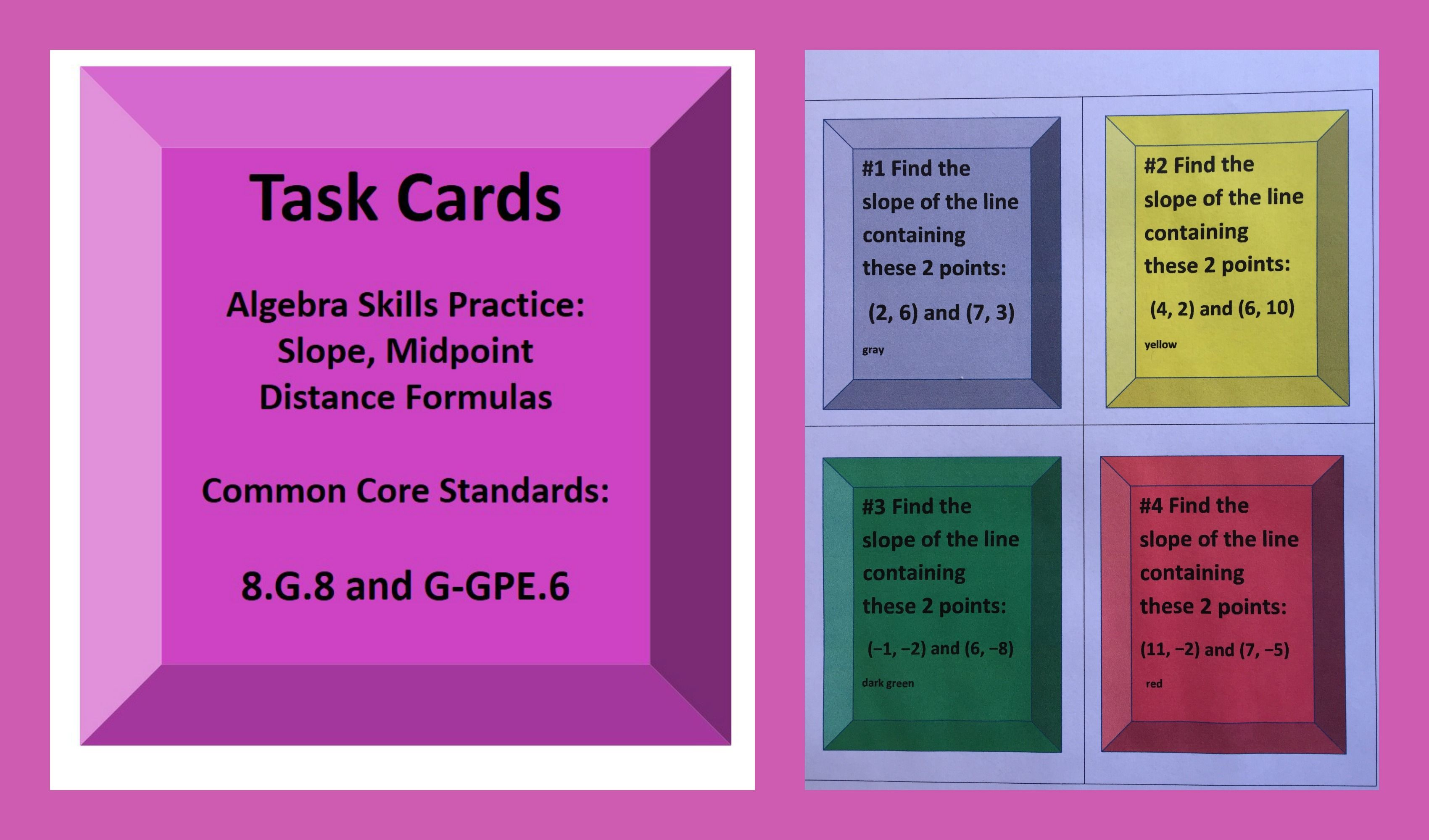 Distance Formula Slope Midpoint Task Cards Activity 8 G 8