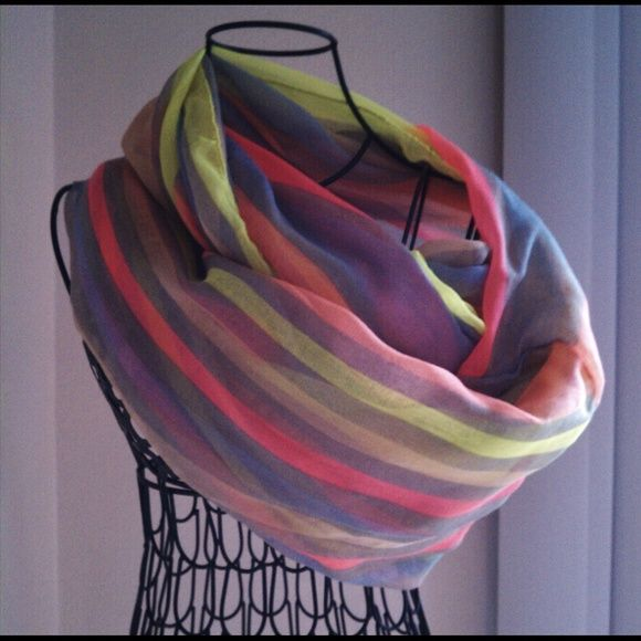 Sheer Multi-Color Neon Stripe Infinity Scarf Women's sheer multicolor neon stripe loop scarf, 100 polyester, show off your bold side with this soft loop scarf. Light weight and perfect for a typical casual day... Accessories Scarves & Wraps