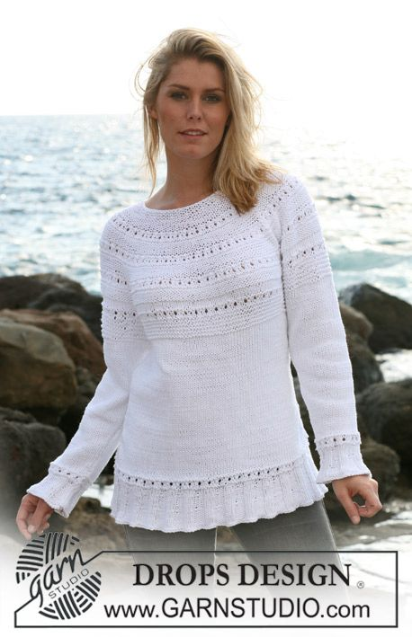 """DROPS jumper in """"Paris"""" with rib and lace pattern. Sizes: S - XXXL ..."""