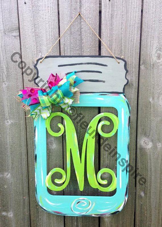 Mason Jar With Monogram Door Hanger By Fleurdeinspire On