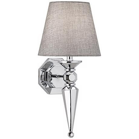 Textured Fabric Shade High Chrome Wall Sconce Style - Bathroom wall sconces with fabric shades