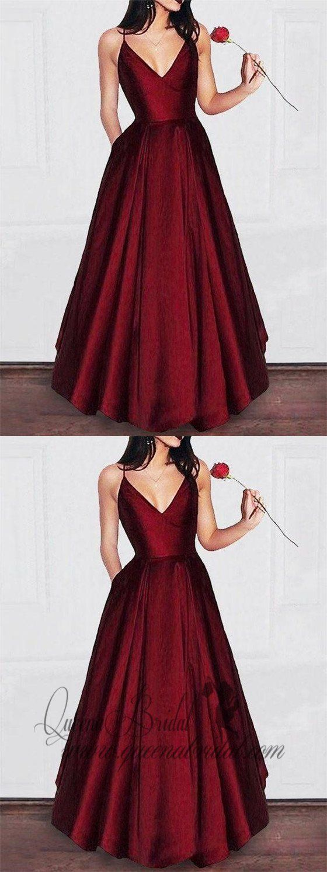 Aline vneck spaghetti strap burgundy prom dresses long formal
